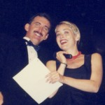 Auctioneer Scott Robertson and Sharon Stone at Benefit Auction