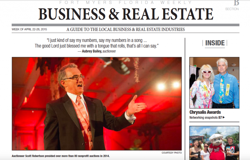 "Florida Weekly article: ""Going Once, Going Twice, Local auctioneers sell just about anything"""