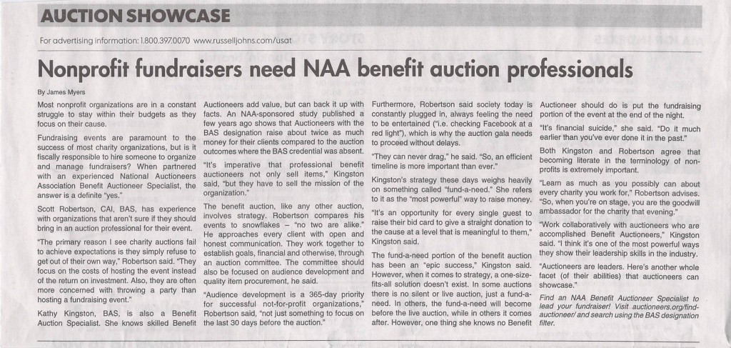 Non profit fundraisers need NAA benefit auction specialists