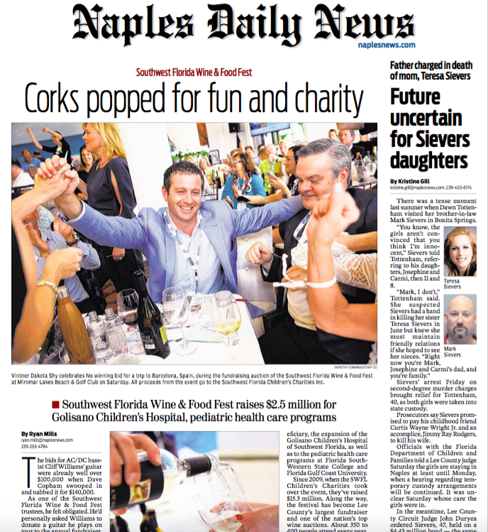 2016 SWFL Wine & Food Fest article - Naples Daily News