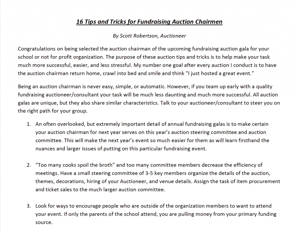 16 Tips and Tricks for Fundraising Auction Chairmen